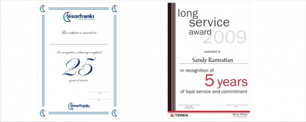 annual long service certificate design